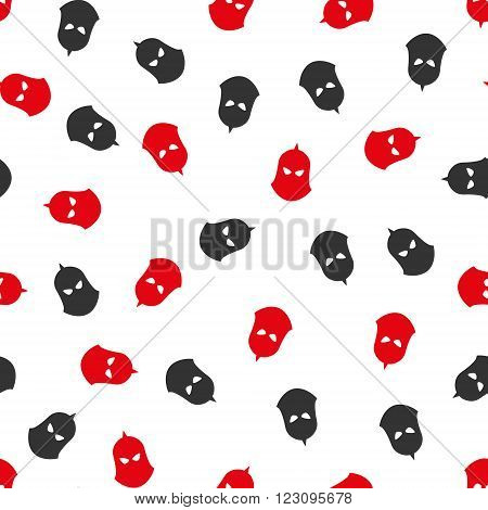 Knight Helmet vector seamless repeatable pattern. Style is flat red and dark gray knight helmet symbols on a white background.