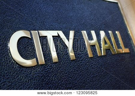 City Hall sign building entrance close up ** Note: Shallow depth of field