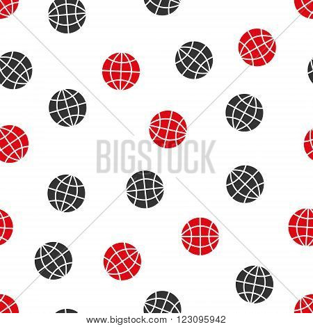 Planet Globe vector seamless repeatable pattern. Style is flat red and dark gray Planet globe symbols on a white background.