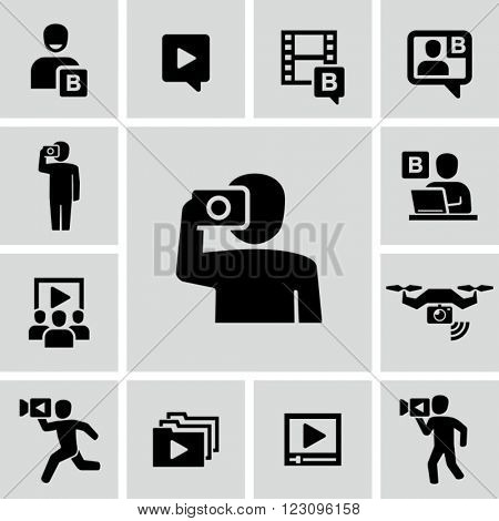Video blogger vector icons