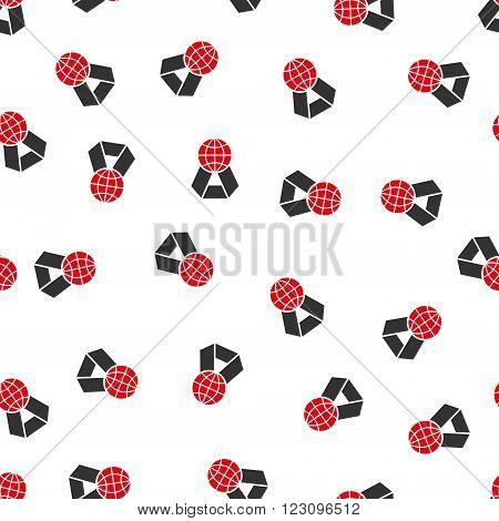 World Award vector seamless repeatable pattern. Style is flat red and dark gray World award symbols on a white background.
