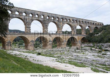 Pont du Gard, old Roman aqueduct, southern France near Nimes