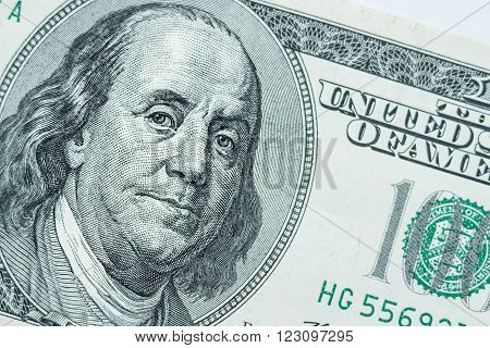 Close-up portrait of Benjamin Franklin . Concept and Ideas