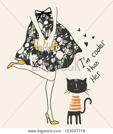 fashion woman and cat with flowers