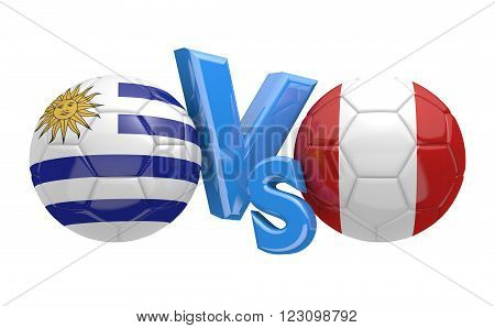 Preliminary competition football match between national teams Uruguay and Peru