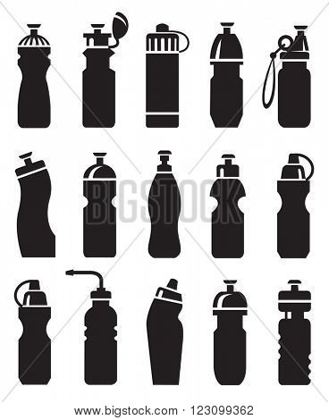 set of different water bottles for sport