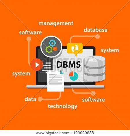 dbms database management system concept computer data symbol vector illustration concept flat