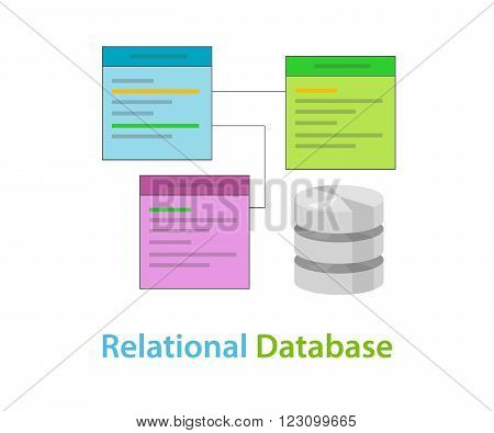 relational database data table related symbol vector illustration concept flat