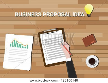business proposal idea in work desk wood background vector