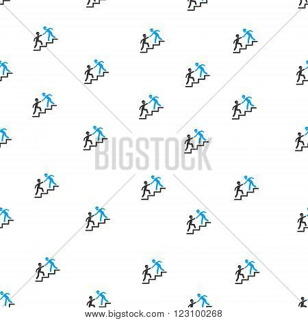 Builder Business Help vector seamless repeatable pattern. Style is flat blue and dark gray Builder business help symbols on a white background.