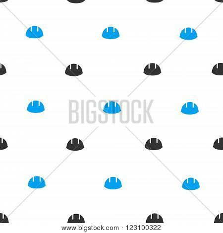 Builder Helmet vector seamless repeatable pattern. Style is flat blue and dark gray builder helmet symbols on a white background.
