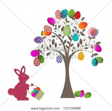 Easter Egg Tree with Rabbit and basket
