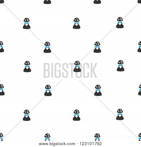 Spotted Spy vector seamless repeatable pattern. Style is flat blue and dark gray spotted spy symbols on a white background.