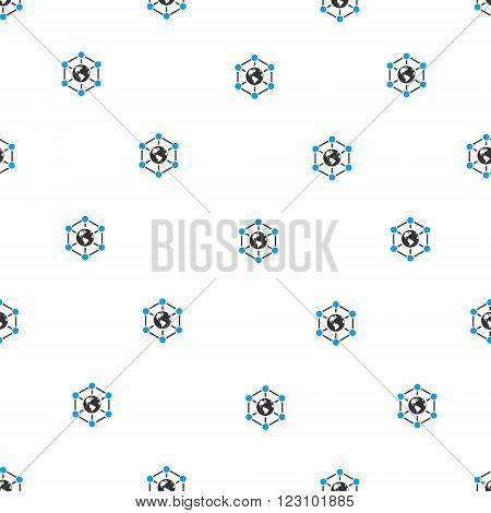 Worldwide Internet Nodes vector seamless repeatable pattern. Style is flat blue and dark gray Worldwide internet nodes symbols on a white background.