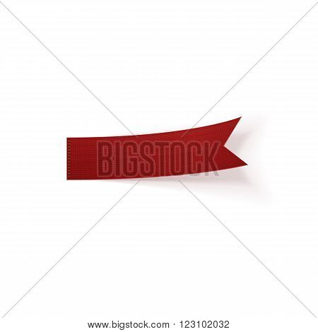 Greeting red bend paper Ribbon. Vector Illustration