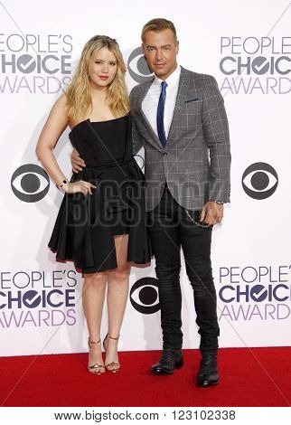 Taylor Spreitler and Joey Lawrence at the 41st Annual People's Choice Awards held at the Nokia L.A. Live Theatre in Los Angeles on January 7, 2015.