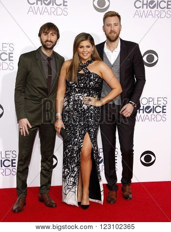Hillary Scott, Dave Haywood and Charles Kelley of Lady Antebellum at the 41st Annual People's Choice Awards held at the Nokia L.A. Live Theatre in Los Angeles on January 7, 2015.