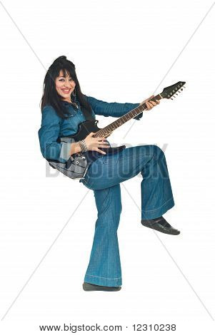 Laughing Guitarist Woman In Denim