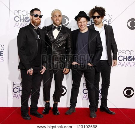 Andy Hurley, Peter Wentz, Patrick Stump and Joe Trohman of Fall Out Boy at the 41st Annual People's Choice Awards held at the Nokia L.A. Live Theatre in Los Angeles on January 7, 2015.