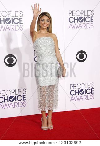 Sarah Hyland at the 41st Annual People's Choice Awards held at the Nokia L.A. Live Theatre in Los Angeles on January 7, 2015.