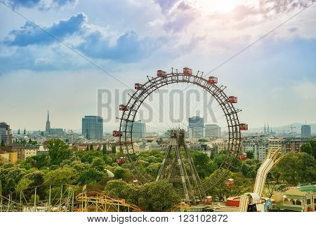 VIENNA AUSTRIA - APRIL 27TH 2011: A view on the Wiener Riesenrad and Vienna downtown in the background.