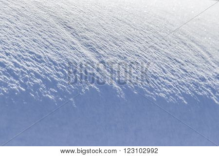 Bizarre shape of the surface of the snow drifts