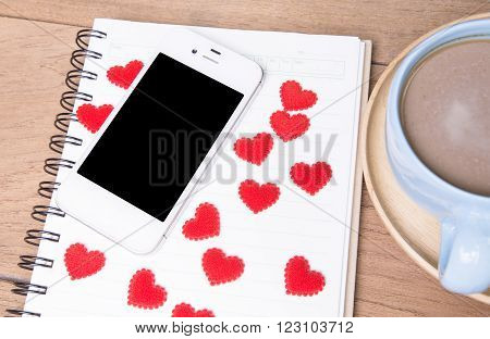 Diary note with red heart (Organizer agenda book diary)