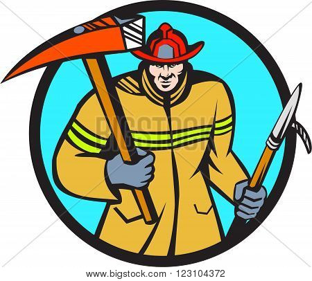Illustration of a fireman fire fighter emergency worker holding a fire axe and hook viewed from front set inside circle on isolated background done in retro style.