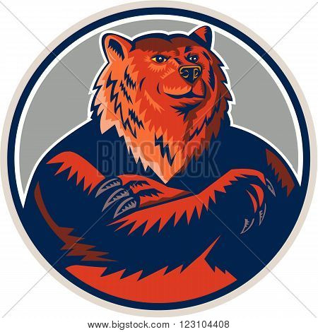 Illustration of a Russian bear or Eurasian brown bear with arms folded viewed from front set inside circle done in retro style.