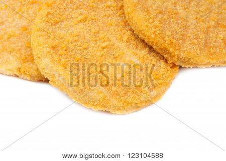 close-up fish burgers isolated on white background