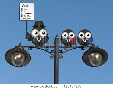 Comical market research voting intension sign with birds perched on a lamppost against a clear blue sky