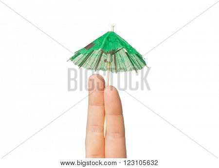 gesture, love, holidays, summer vacation and body parts concept - close up of two fingers with cocktail umbrella decoration