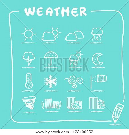 Weather icon set collection - doodle Series