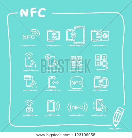 NFC technolgy icon set collection - doodle Series