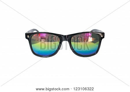 A black sunglasses on the white background