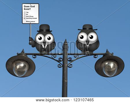 Comical market research does God exist sign with birds perched on a lamppost against a clear blue sky
