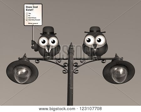 Sepia comical market research does God exist sign with birds perched on a lamppost