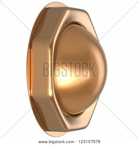 Button golden casino luck game win start turn off on action push down activate ignition power switch electric design element metallic shiny blank gold yellow luxury. 3d render isolated