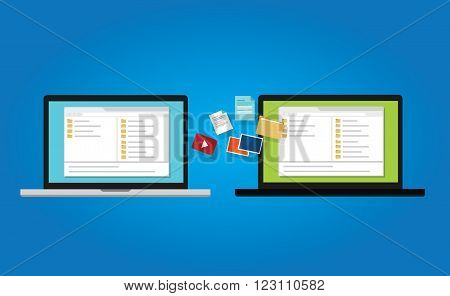 file transfer copy document backup to laptop from between computer icon symbol illustration sync vector