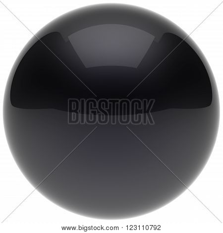 Sphere ball black button circle round basic solid bubble figure geometric shape minimalistic simple atom element single shiny glossy sparkling object blank dark balloon icon. 3d render