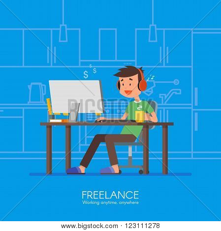 Male freelancer working remotely from his room. Freelance concept vector illustration in flat style design. Home office workplace. Online shopping.