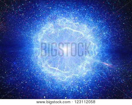 Blue big bang explosion in space computer generated abstract background