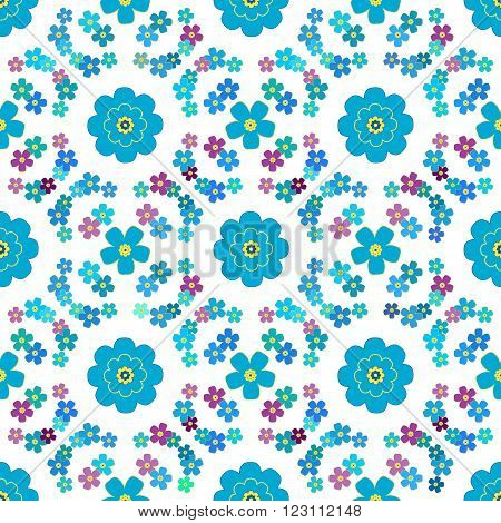 Cute floral background vector pattern with forget-me-not flowers. Seamless vector floral pattern for cushion pillow bandanna silk kerchief or shawl fabric print. Texture for clothes bedclothes