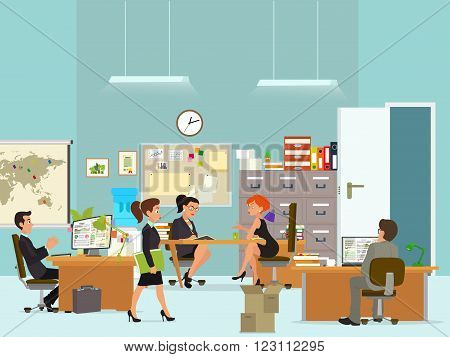 workday in an office building. People in the interior of the building in different poses and situations. Vector illustration in a flat style.