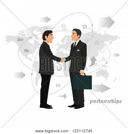 Successful partnership, business people cooperation agreement, teamwork solution and handshake of two businessmen Isolated on stylish background. vector illustration