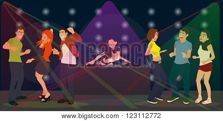 young people dancing in a nightclub. DJ at the console plays music in a nightclub. vector illustration.