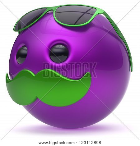 Smiley face cartoon mustache emoticon purple ball happy joyful handsome person caricature sunglasses icon. Cheerful eyeglasses laughing fun sphere positive smile character avatar. 3d render