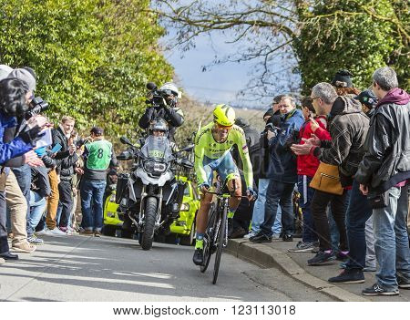 Conflans-Sainte-Honorine, France-March 62016: The Spanish cyclist Alberto Contador of Tinkoff Team riding during the prologue stage of Paris-Nice 2016.