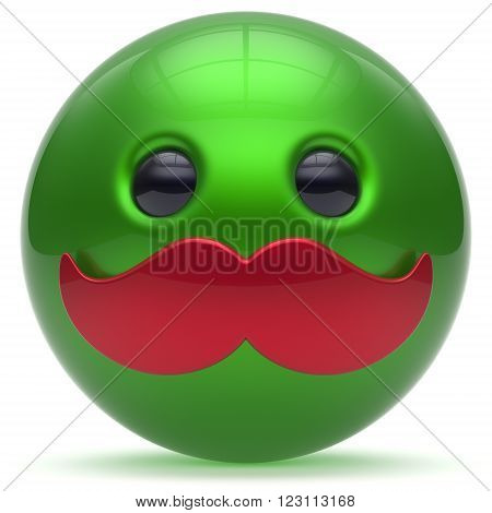 Smiley mustache face cartoon cute emoticon ball happy joyful handsome person green red caricature icon. Cheerful laughing fun sphere positive smile character avatar. 3d render