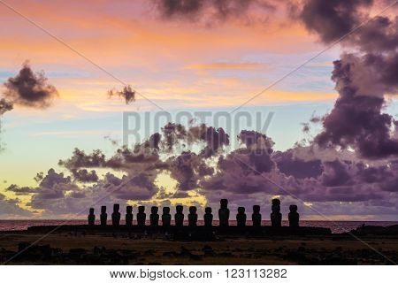 Moai at Ahu Tongariki on Easter Island in the early morning